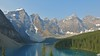 Moraine Lake - Valley of the Ten Peaks (karma (Karen)) Tags: trees canada mountains topf25 reflections boats shadows lakes pines canoes alberta glaciers peaks 4summer morainelake canadianrockies valleyofthetenpeaks canadanationalparks bakffnp