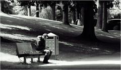 No One to Talk To (Hindrik S) Tags: street light shadow people blackandwhite man black zwartwit candid sony streetphotography sigma shade alpha leeuwarden straat mensen wyt 28300 a57 2015 prinsentuin ljouwert straatfotografie swart prinsetn sonyalpha minske sonyphotographing skaad strjitte slta57 57