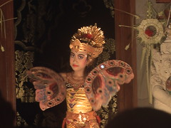 Balinese Girl Performs Dance with Fans