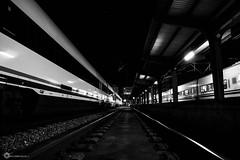 Fin de trayecto (CFBaldomir) Tags: bw white black blanco station night train de tren noche corua y negro platform rail railway bn via fin oscuro anden trayecto llegada