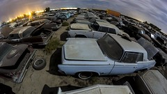 Land of the Imperial (Aztravelgrl (Forgotten Places Photography)) Tags: california nightphotography usa lightpainting night clouds fullmoon fisheye imperial valleyjunkyard