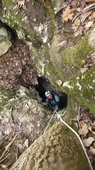 Caver Climbing out of Gourdneck Cave (wrcochran) Tags: tennessee tag caves caving karst cavern speleo pothole spelunking nss scci
