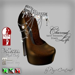 Charmed Life Satin Shimmer Pumps Mocha/Silver by Page Creations   (Raven Page) Tags: classic high mesh pump charmed belleza maitreya slink unrigged