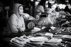 Thailand (siebe ) Tags: blackandwhite girl monochrome thailand market thai 2015