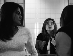 The Break (Erin Bobbitt) Tags: school girls friends white black reflection film canon hair bathroom mirror blackwhite still break photographer friendship emotion bell space mirrors teens talk skirt highschool restroom teenager letterman stills skirts teenage