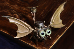 Steampunk Dragon Robot Drone (Catherinette Rings Steampunk) Tags: sculpture cute art metal robot miniature flying wings artwork dragon mechanical handmade eyeball copper etsy brass steampunk