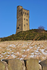 Victoria Tower at Castle Hill (littlestschnauzer) Tags: uk blue winter sky snow cold west tower castle up weather high skies yorkshire hill freezing landmark victoria local huddersfield wintry