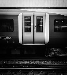 Morning view (michael_speranza) Tags: blackandwhite bw station train doors platform tracks surrey commute commuting southwesttrains haslemere