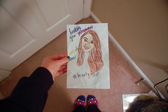 56/365 February 25, 2015 (Lindsey Jean 5) Tags: girl socks drawing card 365 lookingdown dots 365days treatyoself galentines