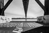 25 de Abril Bridge (Neta Bartal) Tags: blackandwhite bw building portugal de harbor mar lisboa symmetry textured alcantara 25thofaprilbridge 25deabrilbridge nikond5000 netabartal