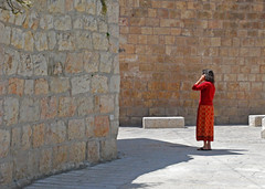Waiting (simpsongls) Tags: city travel red streets church stone wall israel ancient alley gate outdoor jerusalem bricks paving historical zion