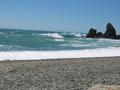 Beach Where the Moeraki River Meets the Pacific Ocean