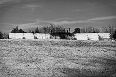 crouching tanker, hidden railroad (fallsroad) Tags: railroad blackandwhite bw train rust rusty rusted tanker arkansasriver tulsaoklahoma nikond7000