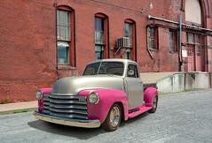 1949 Chevrolet Pickup (Brad Harding Photography) Tags: 1949 49 chevy chevrolet pickup truck utility antique restored restoration chrome leavenworth kansas stjoseph missouri industrial pink gray carshow classic historic vehicle