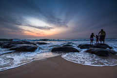 Breaking Dawn (Karunyaraj) Tags: family sea water rock sunrise dawn waves colours tokina 17 35 chennai watersplash cwc beautifulsunrise breakingdawn tokina1735 chennaiweekendclickers covelongbeach nikond610 cwc540