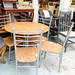 4 oak chairs and circular table