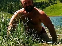 swiss farmhand enjoying a refreshment (Marsum) Tags: sturdy burly butch muscled beaarded swissfarmer stocky beefy outdoor hairy bearded