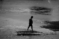 Walking on water (Daniel Nebreda Lucea) Tags: walk walking andar andando white black blanco negro man hombre water agua river rio monochrome monocromatico tudela spain espaa navarra canon summer verano shadows sombras light luz luces nature naturaleza sea mar ocean oceano bnw people gente alone solo drama dramatic