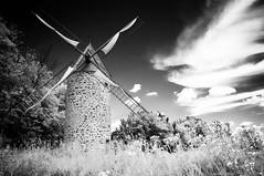 Au temps des moulins (Joanne Levesque) Tags: moulinvent windmill pointeauxtrembles architecture nb bw infraredeffect silverefexpro2 paysage landscape montreal nikond90 explore20160810