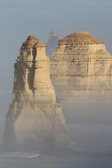 Apostles in the mist (Howard Ferrier) Tags: oceania spray victoria southwest ocean southernocean australia island mist fog twelveapostles stack portcampbellnp clouds princetown au landmass