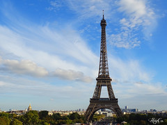Home? (HeyCo Photography) Tags: france paris famous monument eiffel tower amazing high landscape city bright colors sky clouds sunny roofs beautiful home