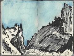 Diablo Canyon 1 (Marcia Milner-Brage) Tags: landscape canyon newmexico sketch inktober inktober2016 mixedmedia calligraphypen inkbrushpen neocoloriiwatersolublewaxpastels pocketsizemoleskine marciamilnerbrage