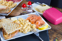 Scrambled eggs with salmon (PicciaNeri) Tags: bread breakfast butter cuisine delicious eat egg energy fatty fish food fresh fried hot meal morning nutrition nutritious pepper pork protein salmon savoury scrambled seasoning smoked toast woodenbackground