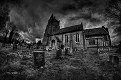 The dearly departed. (Steve.T.) Tags: essex blackandwhite church rayne architecture graveyard churchyard wideangle fisheye fisheyelens nikon d7200 sky clouds bleak allsaintsrayne holy grave graves