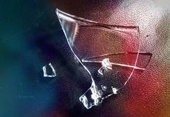 broken.glass #007 (C.Kalk DigitaLPhotoS) Tags: glas glass broken scherbe shard sharp edge edgy translucent color colour colorful colourful reflektion reflection creative macro makro closeup indoor stilllife blau blue rot red orange
