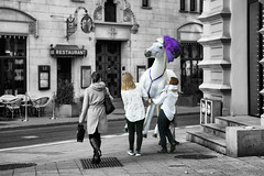 Tonight I'm gonna bury that horse (OR_U) Tags: 2016 oru sweden stockholm cutout street horse carrying people surreal florenceandthemachine black white color purple