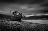 Had enough of water. (Ian Emerson) Tags: ships ship boat shipwreck abandoned derelict beached beach corpach scotland loch sea fortwilliam bennevis blackwhite hoya ndx400 light shadows clouds moody landscape outdoor canon 1855mm scenic omot
