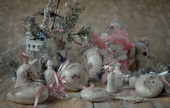 snow-whiteness (Button-NK) Tags: newyear christmas stilllife decoupage skill celebration joy gifts toys balloons angel white blue pink soft pastel