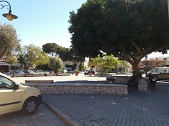 (Psinthos.Net) Tags:  psinthos village square psinthossquare psinthosvillage    villagecenter      stonewall   cars day sunnyday light sunlight     shadow bluesky sky    pots   olivetrees treetrunk   trees planetree   treebranches  road  bench benches    pinetree    cypresstree church  noon    autumn october