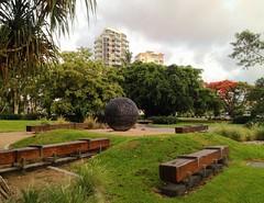 Moon ball (leeanne.bousamra) Tags: summer sculpture moon green bronze ball wharf cairns lush thancoupie