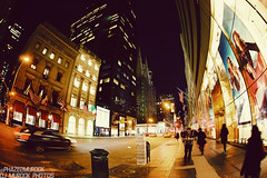 Walking down 5th avenue.. (dj murdok photos) Tags: newyork manhattan sony nighttime timessquare fullframe 16mmfisheye mirrorless djmurdokphotos sonya7 ilce7 laea4