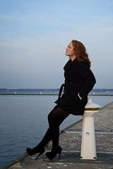 Deep Thoughts (liz.kyle) Tags: ocean life blue winter light red sky seagulls lighthouse black cold green bird water clouds portraits project person evening bay dock photoshoot arms arm legs image head air memories salt thoughtful freezing floating oxygen poop mysterious teenager heels rebellion senses col h20 imagery