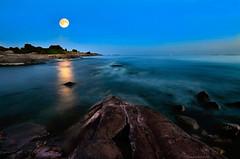 Sea breezes in the moonlight (tinamar789) Tags: blue sea moon seascape reflection nature water night helsinki rocks waves horizon full breeze seashore