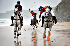 Teams Prepare To Participate In The Newquay Beach Polo Tournament...NEWQUAY, ENGLAND - JULY 04:  Polo players Andy Burgess (R) riding Tonka Rob Brockett riding Torda (L) and Ben Marshall (C) riding Shriva practice for the beach polo competition being held