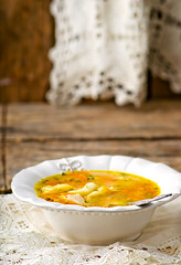 chicken soup with dumpling . (Zoryanchik) Tags: food white hot green chicken dinner lunch cuisine soup healthy dish traditional plate spoon bowl vegetable fresh meat delicious meal carrot diet broth dumpling