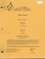 """Hank's Back!"" King of the Hill Original Studio Script (candoartist) Tags: mtv fox animation collectible script beavisandbutthead memorabilia screenplay 20thcenturyfox kingofthehill animationart mikejudge productiondrawing hanksback"