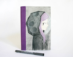 Moon girl with lavender hair fabric journal (monel's craft) Tags: moon girl illustration notebook mixed media handmade embroidery mixedmedia journal cover etsy lunar whimsical etsyseller
