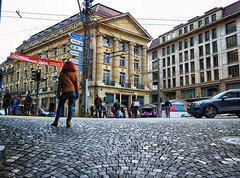 Street Scene in Lausanne, Switzerland (` Toshio ') Tags: city people woman building cars fashion bike architecture corner switzerland europe downtown european suisse boots swiss perspective streetscene historic lausanne redhead ouchy toshio xe2 fujixe2