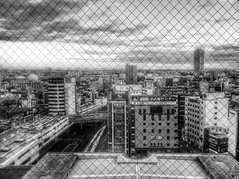 Nagoya from an Elevator (Jon-F, themachine) Tags: city urban apple japan asian asia cityscape cities cityscapes cellphone mobilephone nagoya  nippon japo oriental orient fareast  aichi nihon  iphone  chubu japn  2015  landoftherisingsun  chuubu  iphone4  xapn jonfu  snapseed