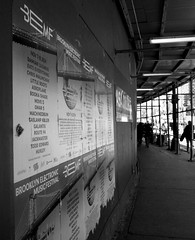 BEMF ads in Midtown (Robert S. Photography) Tags: nyc bw monochrome festival brooklyn ads concert manhattan midtown posters canonpowershot 2015 bemf a3400
