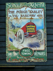 Old Enamel Garage Sign at Barley (Jayembee69) Tags: barley hertfordshire herts garage enamel sign forge car automobile vintage serviceagent barkway empiremotorpolicy 1920s england uk unitedkingdom chipped rusted