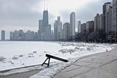 Winter (ancientlives) Tags: travel winter usa chicago architecture landscape march illinois downtown fuji sunday lakemichigan lakeshore northavenuebeach 2015 23mm lakefronttrail fujix100s