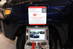 Toyota Technology at 2015 Cleveland Auto Show (Elizabeth Bickel) Tags: auto blue technology cleveland autoshow toyota 4runner suv tablet mpg