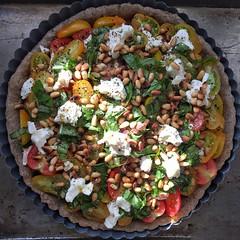 2016-7-22 Tomato tart with goat cheese in buckwheat crust (Danube66) Tags: project365 july2016 tomato goatcheese pinenut basil buckwheat tart recipe