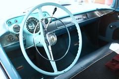 Bel-Air (Martyn61) Tags: ireland classic belair window mirror muscle interior chrome dash american automatic fujifilm windshield wexford carshow steeringwheel powderblue benchseat lefthanddrive chevy55 classicchrome x100t columnchangegears