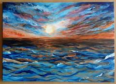 Night Times (nesrin.) Tags: ocean blue sunset sea orange sun abstract art nature water skyline dawn paint acrylic glow sundown wave canvas dazzling instagram
